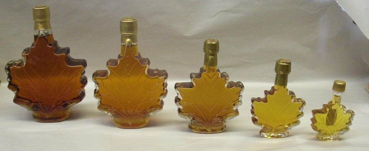 maple syrup in glass leaves